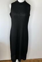 Monteau Sweater Dress Black Stretchy High Neck 1X Career Sleeveless Midi - $17.00