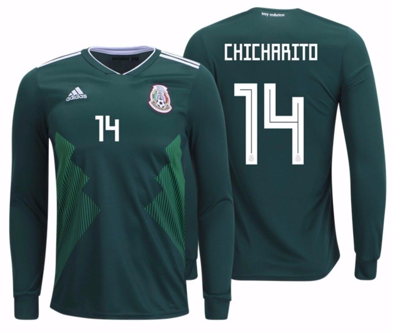 549218002 ADIDAS CHICHARITO MEXICO LONG SLEEVE HOME JERSEY WORLD CUP 2018. -  144.58  -  153.93