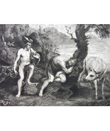 ORIGINAL ETCHING Print - MYTHOLOGY Gods Mercury Argus and Io Cow - $13.49