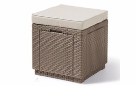 Outdoor Storage Ottoman Patio Cushioned Stool Garden Side Table Chair Fo... - $75.74