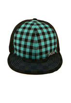 Official Nero Turchese Checker Rete Berretto da Baseball Cappello Snapback Nwt image 2