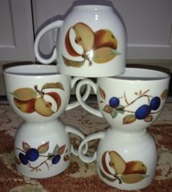 "Royal Worcester Evesham (5) Cups 2.75"" Tall Fruit Gold (free shipping) - $25.81"