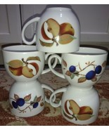 """Royal Worcester Evesham (5) Cups 2.75"""" Tall Fruit Gold (free shipping) - $25.81"""