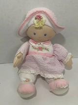 Kids Preferred Plush blonde Baby Doll pink gingham flower rose dress hat... - $4.94