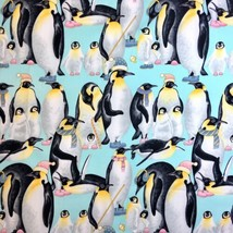Penguin Family fabric by Ladyfingers Studio for Andover Fabrics 100% Cotton - $4.50