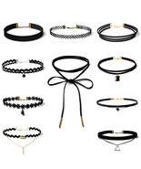 Women Black Rope Choker Necklace Set Stretch Velvet Classic Gothic Lace ... - $11.99