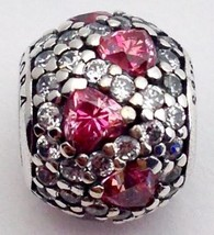 Authentic Pandora Shimmering Heart Pave Fancy Pink Bead Charm 791249CZS New - $60.79
