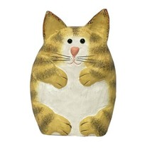James Haddon Orange Tabby Kitty Cat Wood Folk Art Sculpture Meow! Cat Décor - $19.99