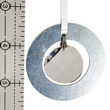 Medium Aluminum and Crystal Circle Ornament - Wavelet image 2