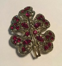 Vintage Ruby Red Rhinestone Gold Tone Leaf Brooch - $15.79