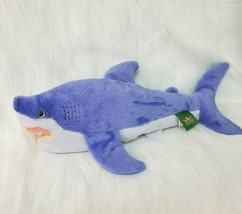 "17"" Wild Republic Shark Ocean Fish Purple White Plush Stuffed Animal Toy B350 - $19.97"
