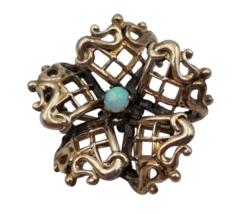 "Victorian Flower Brass Brooch Pin with Faux Opal & C Clasp 7/8"" in Diameter - $43.56"