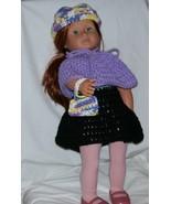 American Girl 3 Piece Purple Outfit, Handmade Crochet, 18 Inch Doll - $15.00