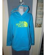 THE North Face Aqua/Yellow Hooded Sweatshirt Logo Size L Women's - $45.00