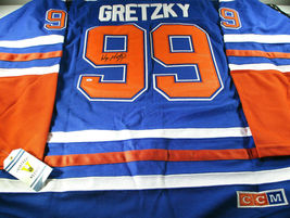 WAYNE GRETZKY / NHL HALL OF FAME / AUTOGRAPHED EDMONTON OILERS PRO STYLE JERSEY image 7