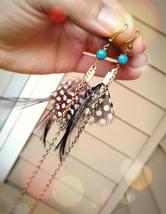 Bohemian Feather Earrings Black Polka Dot Feather Earrings Gold Chain Ea... - $64.00