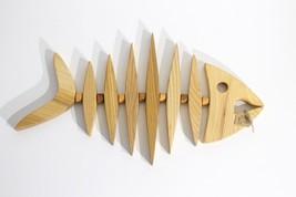 New HANDMADE FISH-BONE Vintage French Country Wood Ash Oak Trivet Hot Po... - $56.24