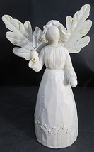 Vintage Spring girl ANGEL White Figurine Holding Plants Metal Leaf Wings... - $26.55 CAD