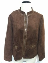 Laura Ashley brown zipper down faux suede lined jacket Large - $19.79