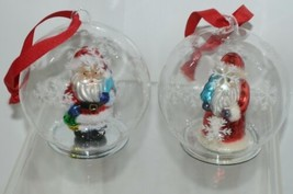 Twos Company Let It Snow Old World Santa Glass Ornament Set 2 Different Scenes image 2