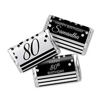 Elegant Black and Silver Personalized 80th Birthday Favor Stickers, Miniatures C - $13.37