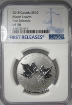 2018 Canada $10 1/2oz. .9999 Silver Maple Leaves 1st Releases NGC SP70 A... - $145.03