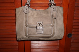 Coach Large Taupe Brown Suede & Leather Purse Handbag Big Bag F24688  - $50.50
