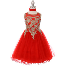 Red Fabulous Gold Trimmed Corset Back Closure Wired Tulle Skirt Girl Dress - $88.99+