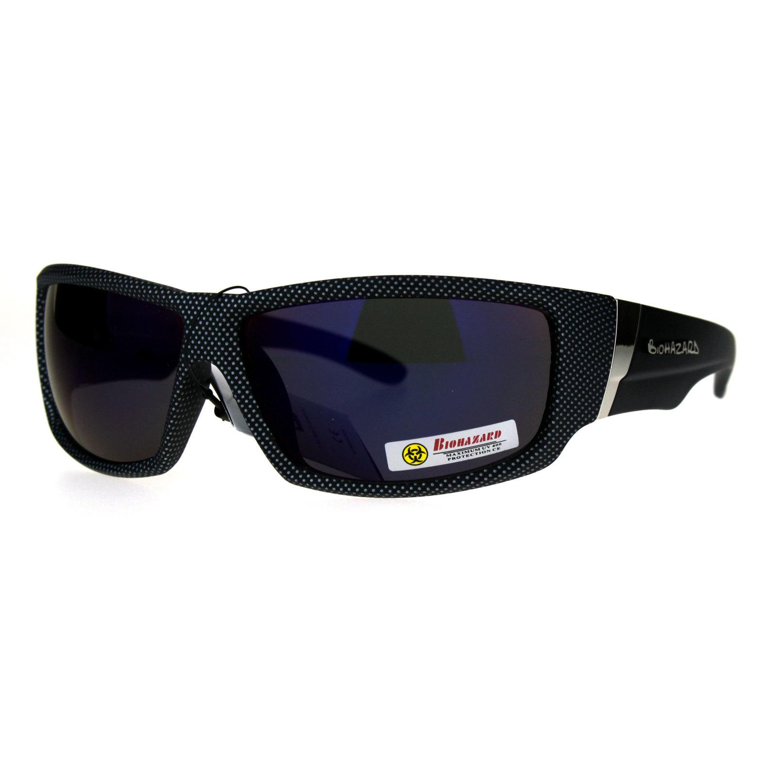 1c5b6c883aa Biohazard Rectangular Biker Gangster Plastic Motorcycle Sunglasses
