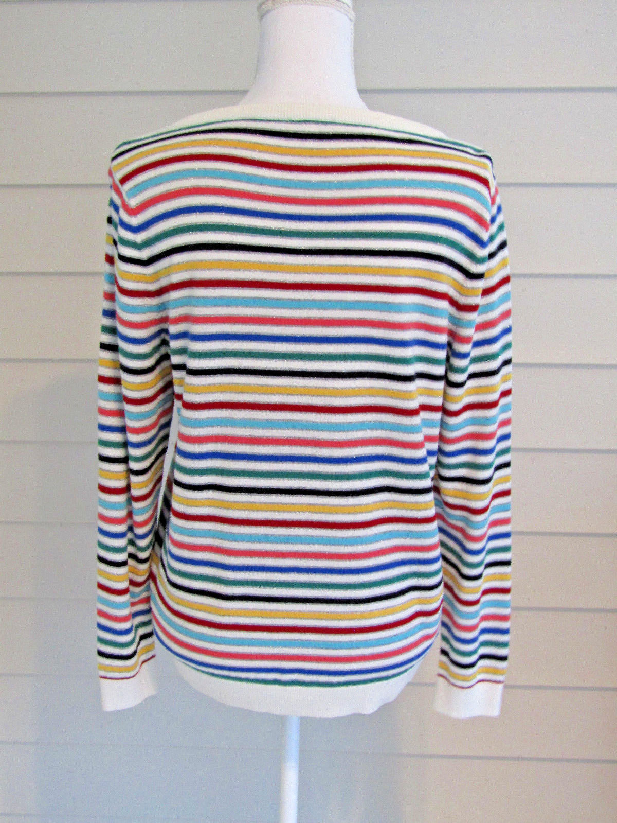 Talbots Multi Color Stripe Long Sleeve Cotton Blend Lightweight Sweater Size PL
