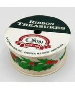 """Vintage Christmas Ribbon Roll Offray Holly Green Red White 1-3/8"""" x 9' U... - $8.36"""