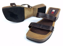 Tommy Hilfiger Women's Wooden Sandals Clogs Brown Leather Size 6 M - $13.08