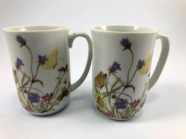 Nature Garden Society By Enesco  Porcelain Coffee Mugs Butterflies Lot of 2 - $10.39