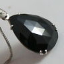 18K WHITE GOLD NECKLACE, DIAMOND CT 0.07, DROP BLACK SPINEL CT 9.5 MADE IN ITALY image 2