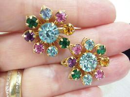 SPARKLING Multi PASTEL Rhinestone FLOWER Screw Back Earrings Vintage Career - $13.85