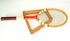Vtg Spalding Title Cup Wood Tennis Racket with Press USA made - $26.68