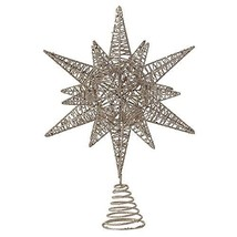 Creative Co-op Multidimensional Star Tree Topper with Gold Glitter Metal Ornamen
