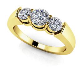 14K Yellow Gold Fn 0.30 Ct Round Cut Sim Triple Diamond Anniversary Band... - $108.99