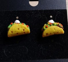 Delicious Miniature Taco Studs Food Clay Gold Tone Clay Food Post Charms  - $6.00