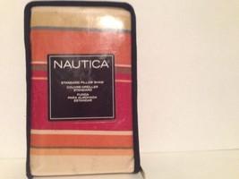 NAUTICA Bayview Multi STANDARD SHAM yellow/Red/Orange/Cream STRIPES - $9.49