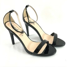 Qupid Womens Pumps Heels Ankle Strap Faux Leather Stilettos Black Open Toe 8.5 - $24.18