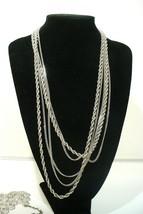 Vintage Monet Silvertone Multi Strand necklace - $19.78