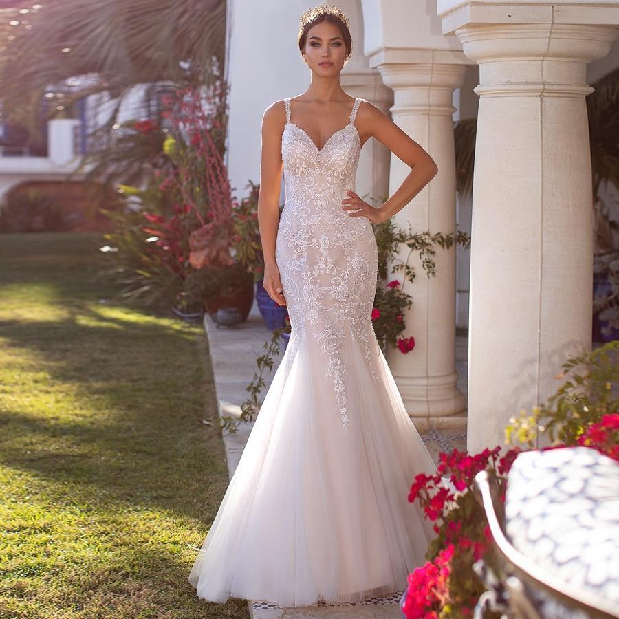 Dding dresses bridal gown spaghetti strap beading applique illusion back robe de mariage wedding