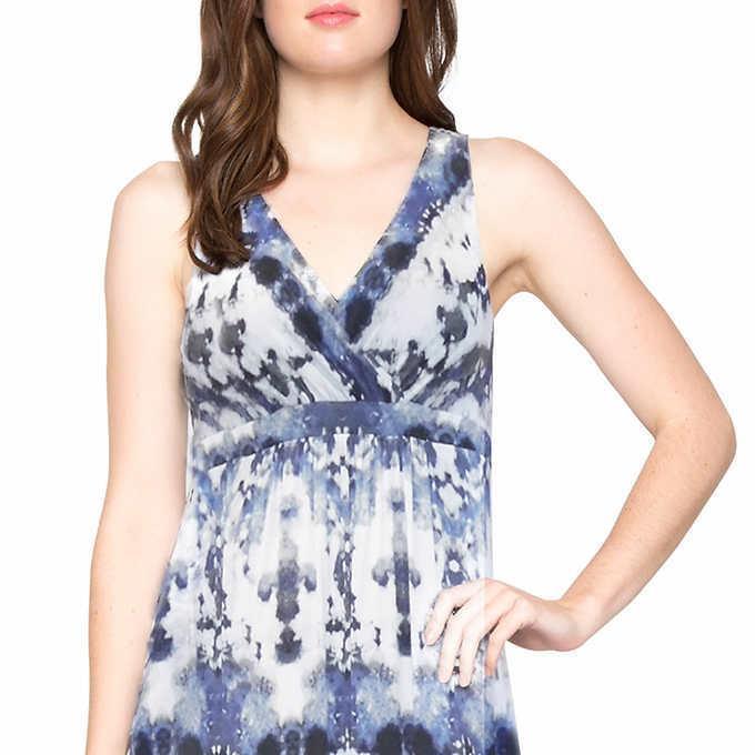 Matty M Women's Gray Cloud Maxi Dress V-Neck Summer Pus Sizes CHEAP