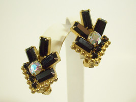 BLACK Baguette Rhinestone AB Gold Plate Clip Earrings Vintage PROM PARTY - $16.82