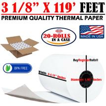 """3 1/8"""" x 119' FT THERMAL RECEIPT PAPER - 20 ROLLS SAME DAY FREE SHIPPING... - $25.49"""