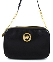 AUTHENTIC NEW NWT MICHAEL KORS LEATHER FULTON $168 BLACK EW CROSSBODY BAG - $89.99