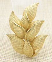 CORO Gold Tone Multi Leaf Pin Brooch Vintage - $24.74