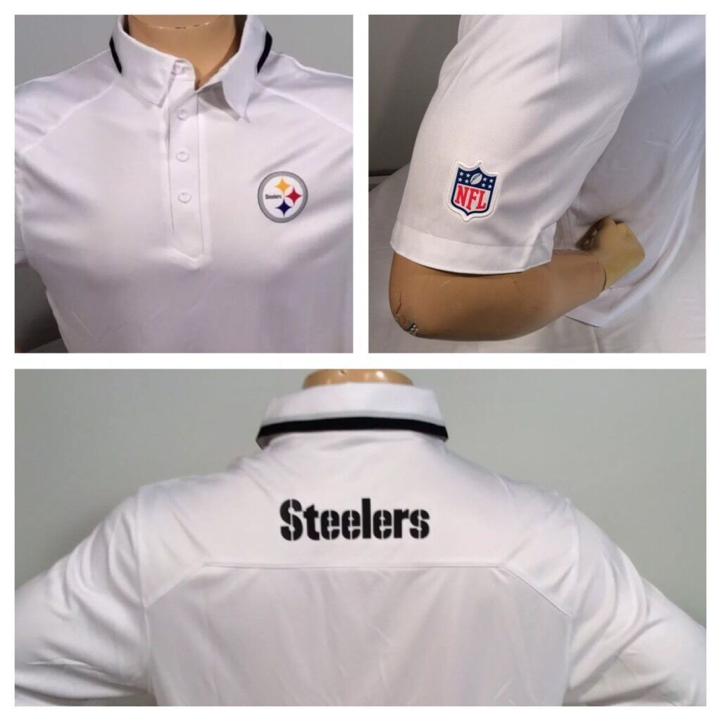 03a36249f S l1600. S l1600. Pittsburgh Steelers NIKE DRI-Fit 523941 NFL L White Golf  Polo Shirt CLEARANCE. Free Shipping