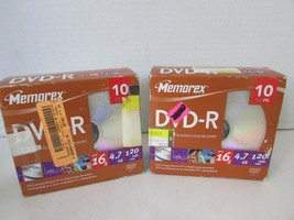 2 MEMOREX DVD-R 10 PACKS IN JEWEL CASES RECORDABLE DISC 16X 4.7GB 120 MI... - $9.85